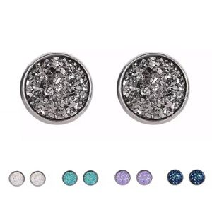 Jewelry - 2 for $18❤️ Silver Druzy Quartz Stainless Earring